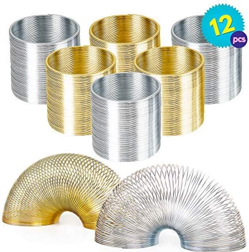 Stretchy  Bouncing Silver and THE TWIDDLERS Pack of 12 Metal Coil Spring Set