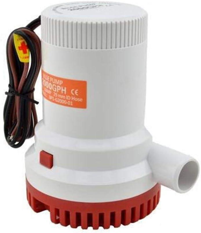 LYFEI 24V 12V DC Kayak Regla de Agua eléctrico 2000 GPH 12 voltios de Alta presión 2000GPH Barco Bomba de achique de sentina 24V Bump Fácil De Instalar (tamaño : 12V)