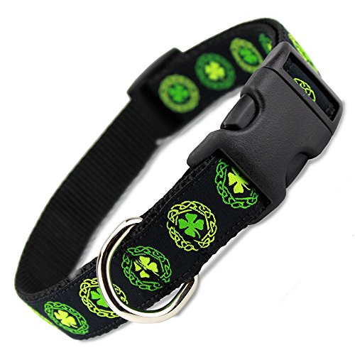 The Artful Canine Irish Dog Collar with Celtic Knots on Black, Large Dogs 35-60 lbs (Collar: 1