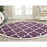 Safavieh CHT733F-4R Chatham Collection Purple and Ivory Wool Round Area Rug, 4-Feet in Diameter