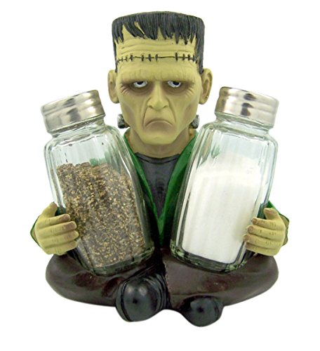 Frankenspice Halloween Salt and Pepper Shaker Holder With Shakers - Novelty Halloween