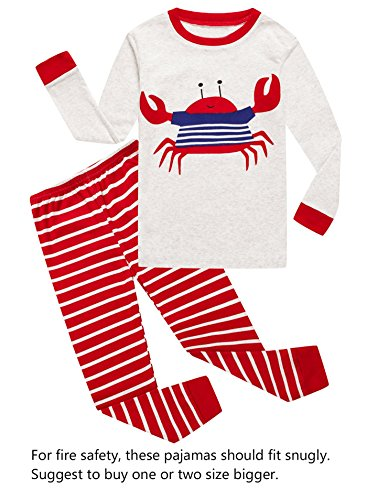 Crab Little Boys Long Sleeve Pajamas 100% Cotton Clothes Toddler Size 2T -