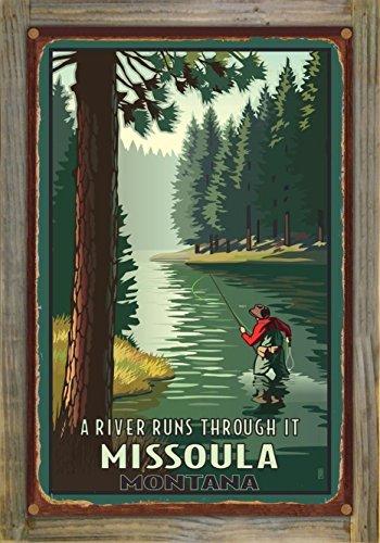 A Riv Runs Through Missoula Montana Rustic Metal Print on Reclaimed Barn Wood by Paul Leighton (12