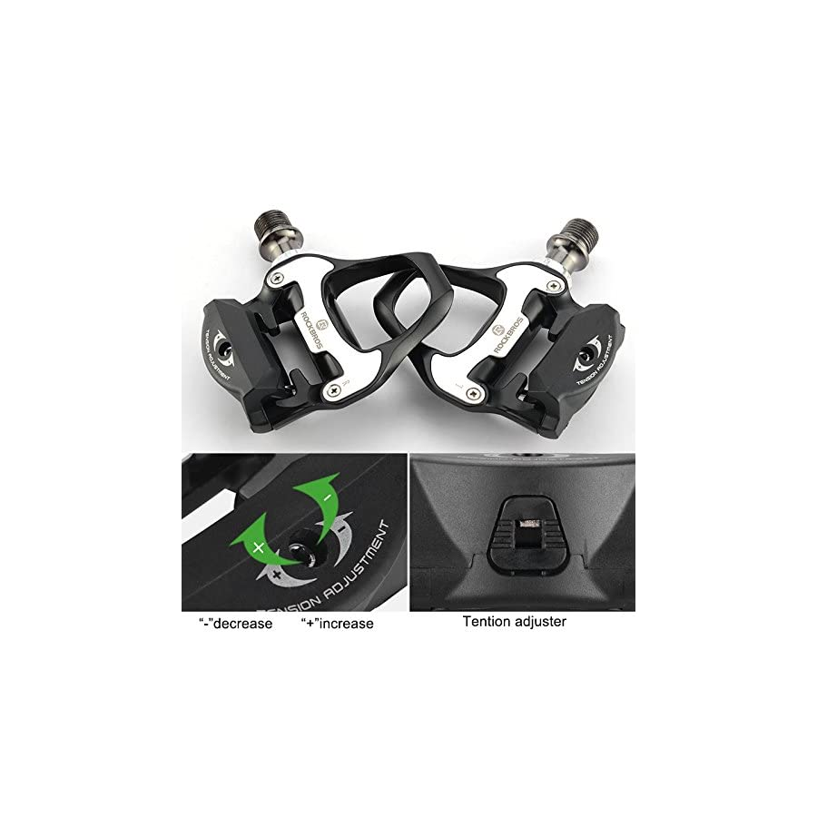 RockBros Road Bike Clipless Pedals with Cleats Set Aluminium Alloy Cycling SPD Pedals