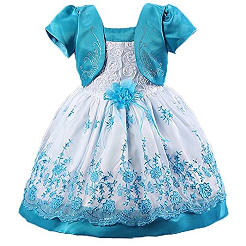 Kids Showtime kids Showtime Baby Girls Puff-Sleeve Floral Embroidered Princess Tulle Tutu Dress Size 1 to 4Y(Blue,6-12M)