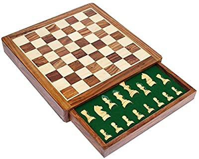 Early Black Fri, Xmas Deal Sale - StonKraft Wooden Chess Board Game Set with Magnetic Pieces (12 x 12 Non-Folding with Drawer)