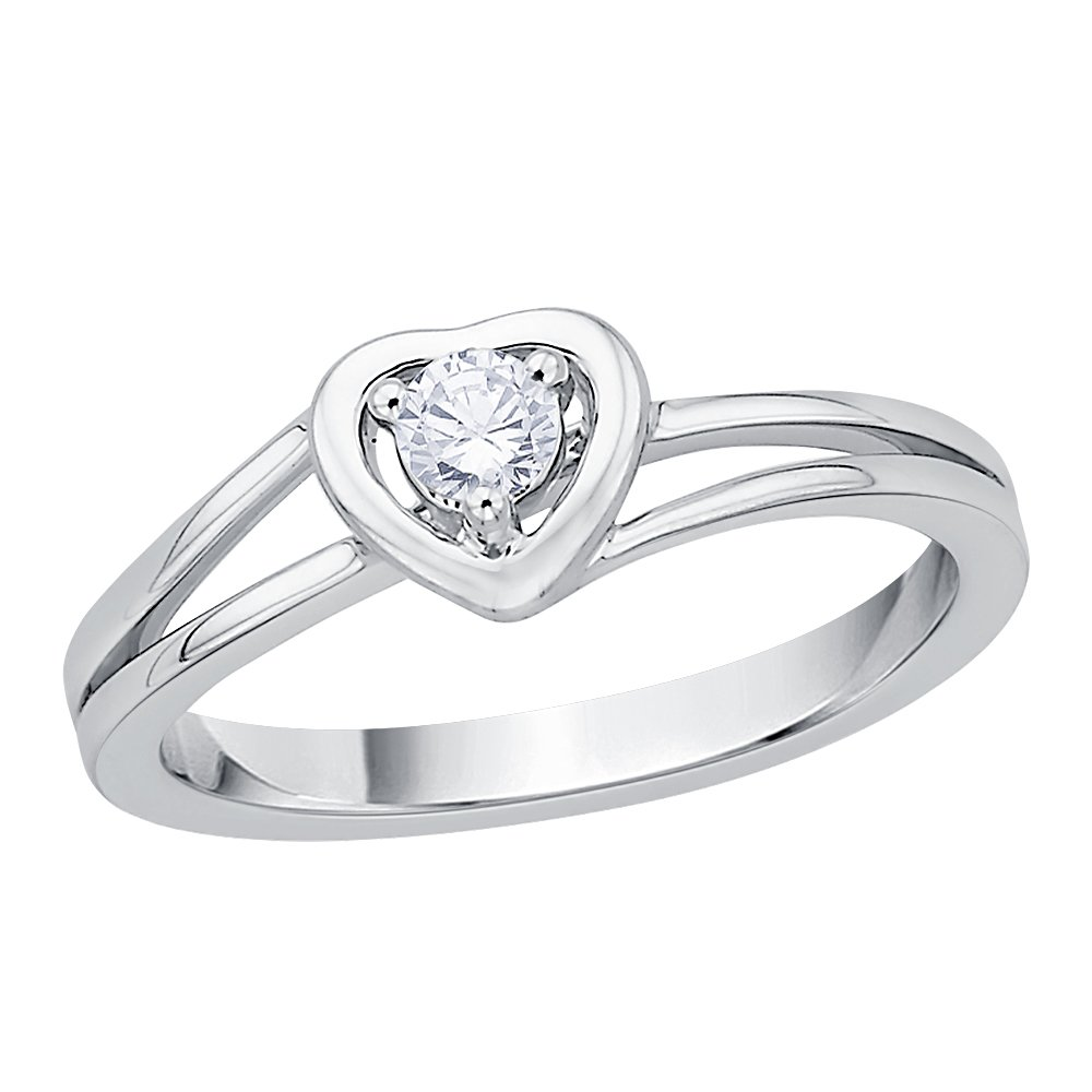 Diamond Heart Promise Ring in 14K White Gold (1/8 cttw) (I-Color, SI3-I1 Clarity) (Size-7.5)