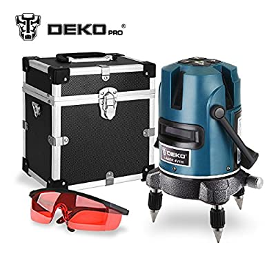 DEKOPRO 5 Lines 6 Points Laser Level 360 Vertical & Horizontal Rotary Cross Laser Line Leveling with Outdoor Mode