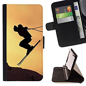 BETTY - FOR Samsung Galaxy S6 - Sunset Sky Jump Mountains - Style PU Leather Case Wallet Flip Stand Flap Closure Cover