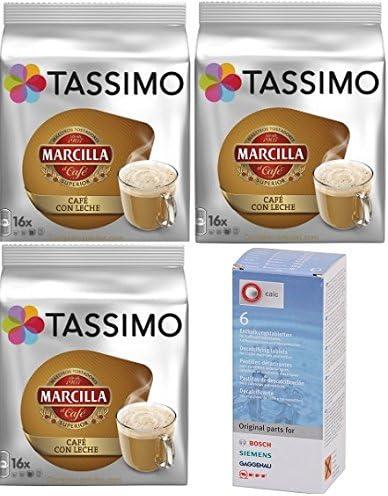 Tassimo Marcilla Café con Leche 48 cápsulas más 1 Descalcificador Bosch: Amazon.es: Alimentación y bebidas