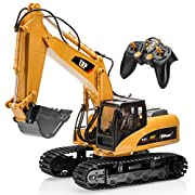 Top Race® 15 Channel Full Functional Professional RC Excavator, Battery Powered Remote Control Construction Tractor ~Metal Shovel~ (TR-211)