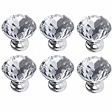 FirstDecor Pack of 6 Clear Diamond Cut Crystal Glass Cabinet Knobs Cupboard Drawer Pull Handle 30mm