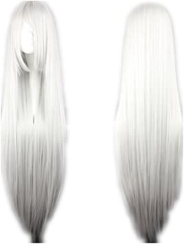 COSPLAZA Cosplay disfraz Wigs Peluca Larga duro Anime Show Glamour Halloween Party Cabello 100 cm blanca plateada: Amazon.es: Salud y cuidado personal