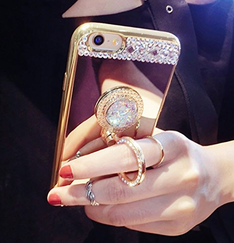 Bling Phone Covers - Galaxy S6 Case,Galaxy S6 Diamond Mirror Case With Ring Kickstand,Goodaa Luxury Bling Shiny Crystal Rhinestone Ring Holder Kickstand Cover Electroplating Mirror Soft Case For Galaxy S6(Gold)