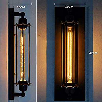 Gotian Metal Wall Sconce Vintage Industrial Wall Lamp Home Decor Indoor and Outdoor ~ for Bedroom, Aisle, Resturants ~ E27 Simple Retro Wall Light Black