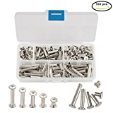 INCREWAY 5mm x 8/15/20/25/30mm Nickel Plated Binding Chicago Screw Posts Barrel Nuts Docking Rivets Silver Tone 100pcs