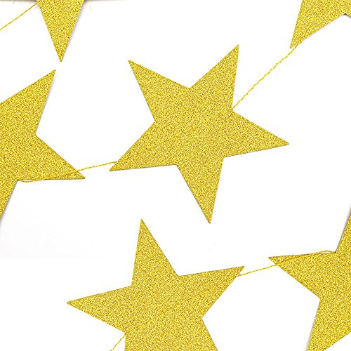 Coceca 50ft Star Paper Garland Bunting Banner Hanging Decoration for Party Decoration, 3.7inches (Gold) by Coceca (Image #2)