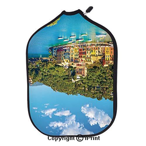 (Lightweight Neoprene Single Pickleball Paddle Cover,Portofino Landmark Aerial Panoramic View Village and Yacht Little Bay Harbor Decorative(Size:8.23