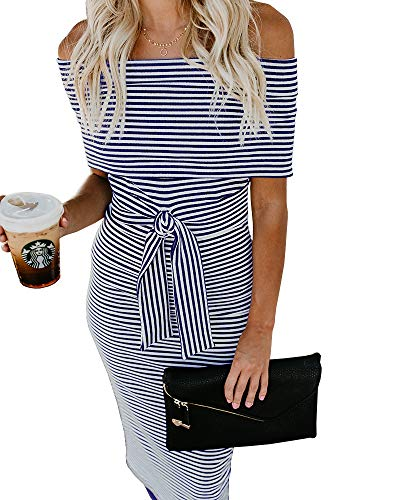 Party with Shoulder Bodycon Belt Striped Pencil Off The Dresses Ruffles Dress Imysty Blue Womens Cocktail qfwz7zp