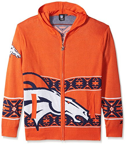 (Denver Broncos Full Zip Hooded Sweater Medium)