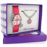 Ravel Girlz Watch and Jewellery girls Gift set Union Jack and Crown R3303