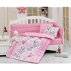 OZINCI - Juego de ropa de cama para niña, diseño de gato, 100% algodón, juego de cuna para niña, 6 piezas de edredón para bebé/edredón con protector para cuna, edredón, cuna, sábanas y fundas de almohada