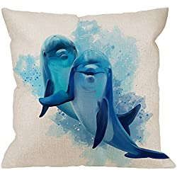 HGOD DESIGNS Throw Pillow Cover Dolphins Watercolor Cheerful Lovely Friendly Home Decorative Pillow Cases Cotton Linen Square Cushion Covers For Sofa Couch 18x18 Inch