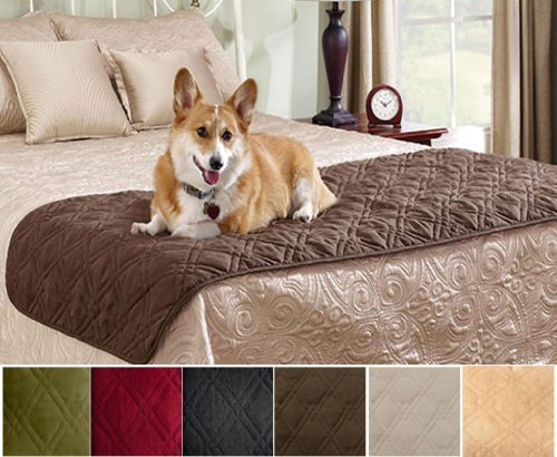 Quilted Suede Bed Protector Slip Cover for Pets Black Color