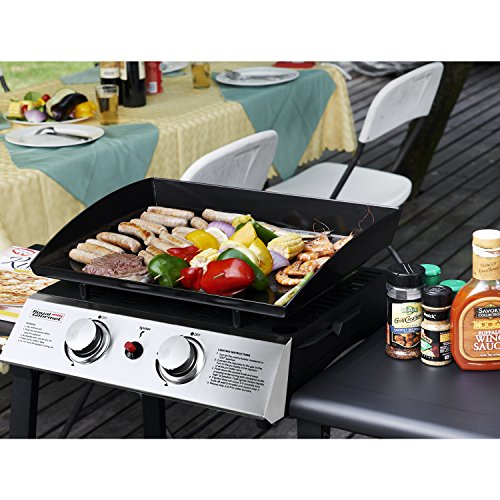 Royal Gourmet 22 Inch Tabletop Grill, Portable Propane Gas Griddle, 2-Adjustable Burners, for Outdoor Camping or Picnicking