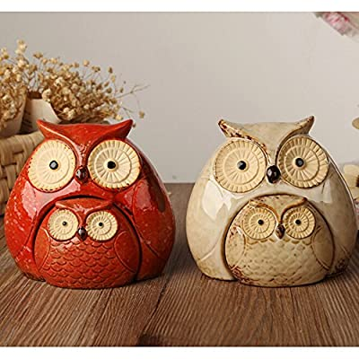 WOMHOPE Set of 2 - Wise Owls Statues House Warming Gift Combined Figurine Statues Tabletop Shelf Ceramic Ornaments Home Decorative Collectible Figurine Statues
