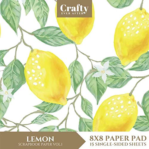 Lemon Scrapbook Paper: Fruit Patterned 8x8 Single-Sided for Crafts Card Making Origami Specialty Scrapbooking Paper Pad 15 Sheets (Decorative Craft Paper)
