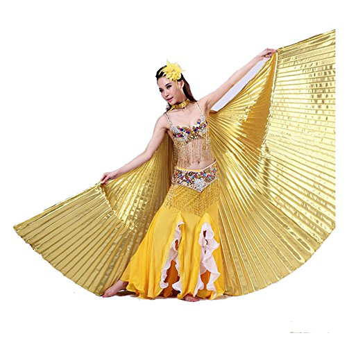 Doinshop Women Egypt Belly Dance Costume Bifurcate Isis Wings 360 Degrees No Sticks (Free Size, (Free Dance Costume Patterns)