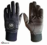 FINGER TEN Winter Golf Gloves Men with Ball Marker Grip Performance 1 Pair, Cold Weather Windproof Waterproof Size Samll Medium ML Large XL
