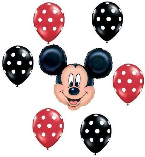 MICKEY MOUSE Red Black Polka Dots Head Figure 7 Mylar + Latex Balloons Set Kit ()