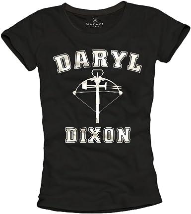 MAKAYA Camiseta Negra Mujer - Daryl Dixon: Amazon.es: Ropa y accesorios