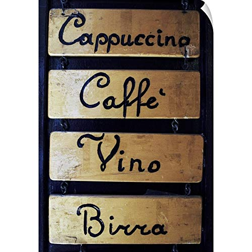 CANVAS ON DEMAND Italy, Veneto, Venice, Coffee, Wine and Beer Sign Outside a bar Wall Peel Art Print, 24