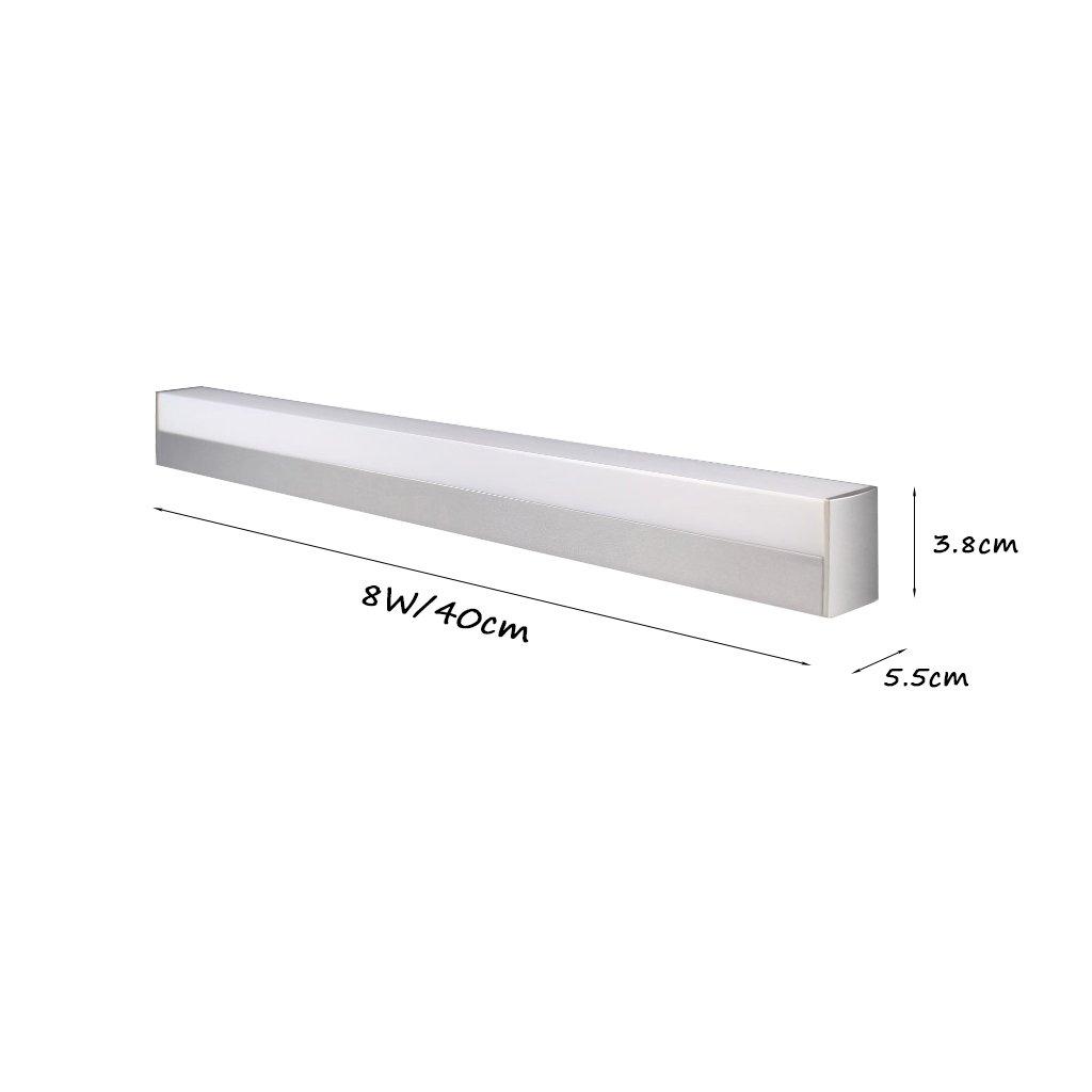 Lámparas de espejo de baño, iluminación de pared Baño LED espejo de luz frontal de aluminio de aleación de espejo gabinete de la lámpara de moda moderno impermeable de pared de iluminación accesorios de iluminación (color: Plata) por BZEI-Lighting Fixture