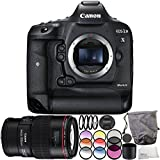 Canon EOS-1D X Mark II DSLR Camera with EF 100mm f/2.8L Macro IS USM Lens 6PC Accessory Bundle – Includes 3PC Filter Kit (UV + CPL + FLD) + MORE - International Version (No Warranty)