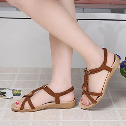 Brun Femmes Air Chaussures de Lady 2017 Toe Loisirs Bohemia Peep Bandage Amlaiworld Plein Chaussures Plates Sandales qwUZ55B