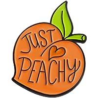 CYMB Brooch Pin Peach Heart Jewelry Lovely Cartoon Enamel Letter Print Orange