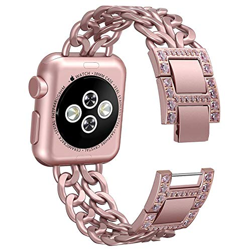 Watch Gold Links Crystal Color (NO1seller Top Bands Compatible for Apple Watch 38mm 42mm, Bling Metal Cowboy Style Bracelet Strap Replacement Wristband for Apple Watch Series 4 40mm 44mm 3/2/1,Sport,Nike+,Edition)