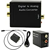 XiuFen Digital Optical Coax to Analog RCA L/R Audio Converter Adapter with Fiber Cable & USB Cable & Mainframe