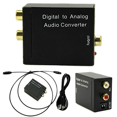 Aoile Digital Optical Coax to Analog RCA L/R Audio Converter Adapter with Fiber Cable & USB Cable & Mainframe ()