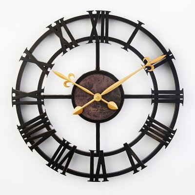 ASIBG Home Imitation Wrought Iron Roman Numeral Wall Clock 43cm Industrial Retro Living Room Bedroom Creative Clock - Cream Wall Iron