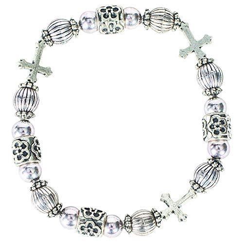Godparent Fleur-de-lis Cross Zinc Alloy Women's Stretch Bangle Bracelet