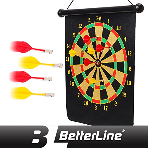 BETTERLINE Magnetic Dart Board Game Set - 16 x 19 Inch (41.5x47.5cm) Roll-up Board with 6 Darts - Child & Furniture Safe Dartboard for Kids & Adults by Better Line