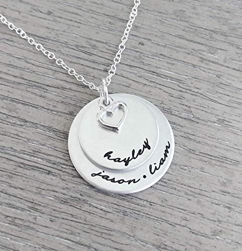 (Personalized Necklace // Hand Stamped Jewelry // Necklace with Kids Names // Family Necklace // Hand Stamped)
