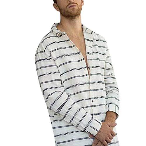 Huaze Gift 2019 Men Casual Summer Cotton Linen Striped Print Button Long Sleeve Hawaiian Turn-Down Collar T-Shirt Top Blouses (White, 2XL)