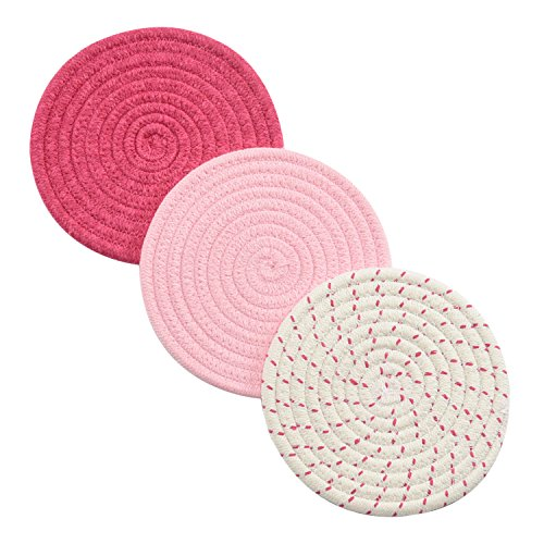 Pink Kitchen Accessories - Kitchen Potholders Set Trivets Set 100% Pure Cotton Thread Weave Hot Pot Holders Set (Set of 3) Stylish Coasters, Hot Pads, Hot Mats, Spoon Rest For Cooking and Baking by Diameter 7 Inches (Pink)
