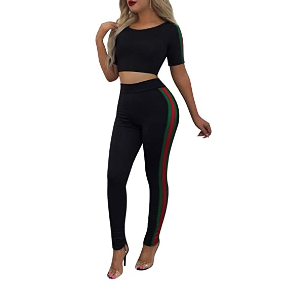 99a4b7b7055 Juleya Women Tracksuit Set - Short Sleeve Crop Top Stripe Sweatshirt + Pants  Joggers Sports Suits 2PCS Full Tracksuit: Amazon.co.uk: Clothing